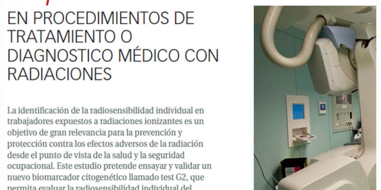 REVISTA SEGURIDAD Y MEDIO AMBIENTE - Evaluación de la radiosensibilidad del personal sanitario en procedimientos de tratamiento o diagnóstico médico con radiaciones