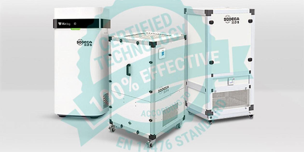 Los purificadores de aire de SODECA cuentan con una efectividad certificada del 100%