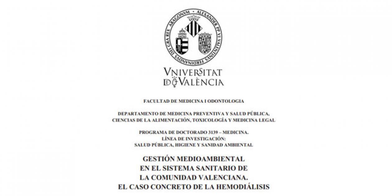 Gestión medioambiental en el sistema sanitario de la Comunidad Valenciana. El caso concreto de la hemodiálisis