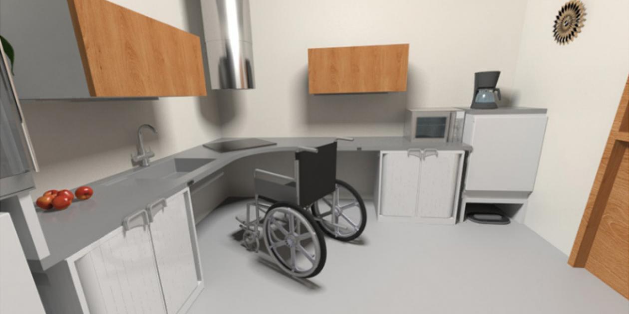 Diseño del espacio mínimo de una cocina adaptada a personas con movilidad reducida